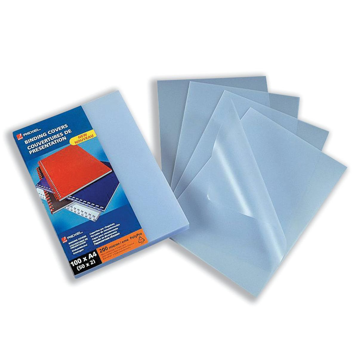 GBC Binding Covers Polypropylene Recyclable 200 micron A4 Frosted Ref 210056E Pack 100