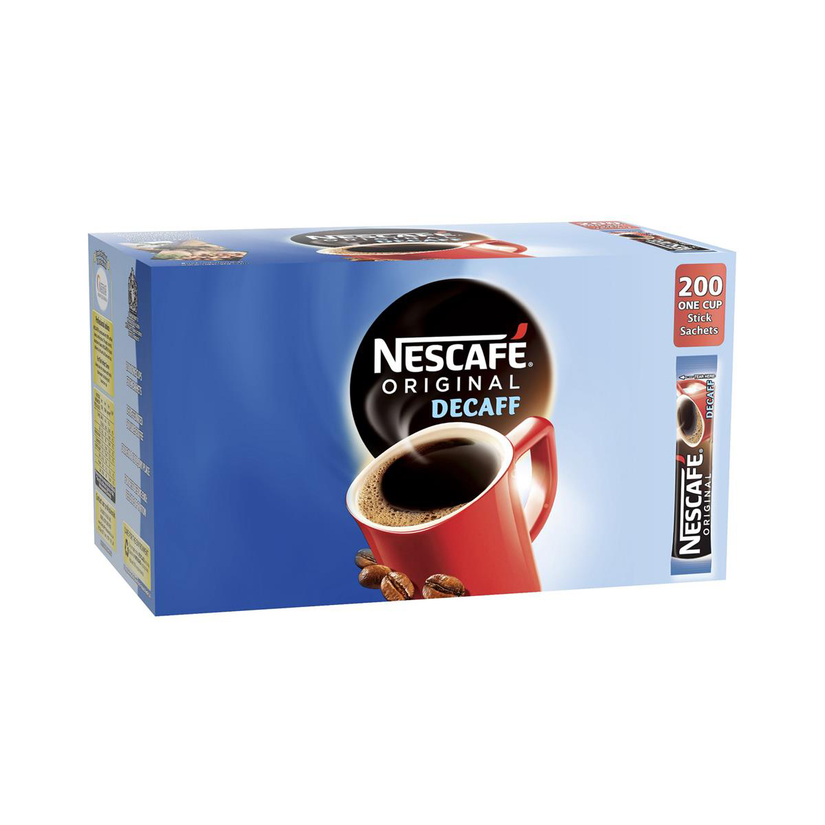 Nescafe Original Instant Coffee Granules Decaffeinated Stick Sachets Ref 12349814 Pack 200
