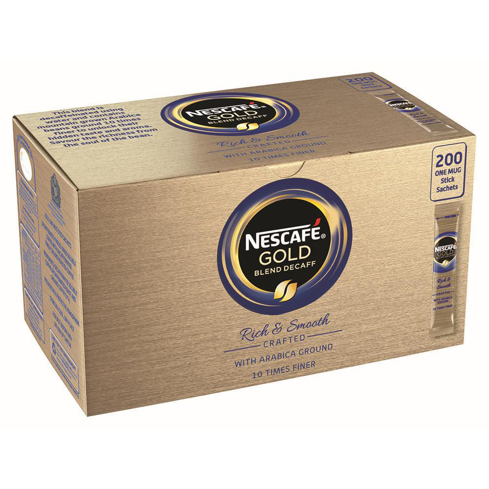 Nescafe Gold Blend Instant Coffee Granules Decaffeinated Stick Sachets Ref 12340522[Pack 200]