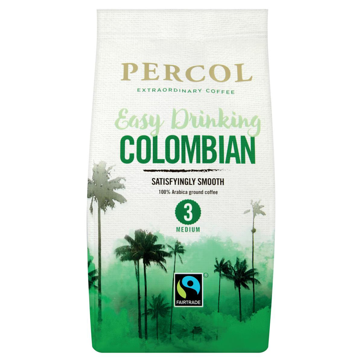 Coffee Percol Fairtrade Colombia Ground Coffee Medium Roasted 200g Ref 0403127