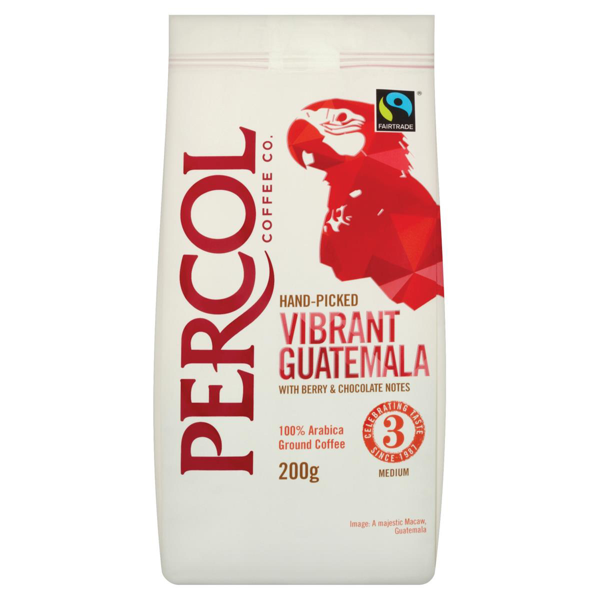 Percol Fairtrade Guatemala Ground Coffee Medium Roasted 200g Ref 0403272