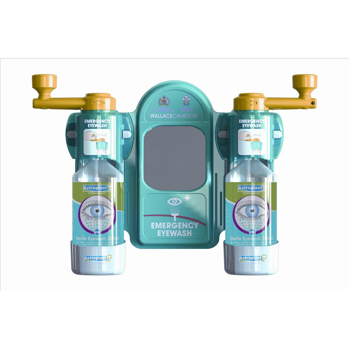 Eyewashers or eye wash stations Wallace Cameron Astroplast Eyewash Station Standard Mirror 2x Eyewash Bottle Ref 2402057