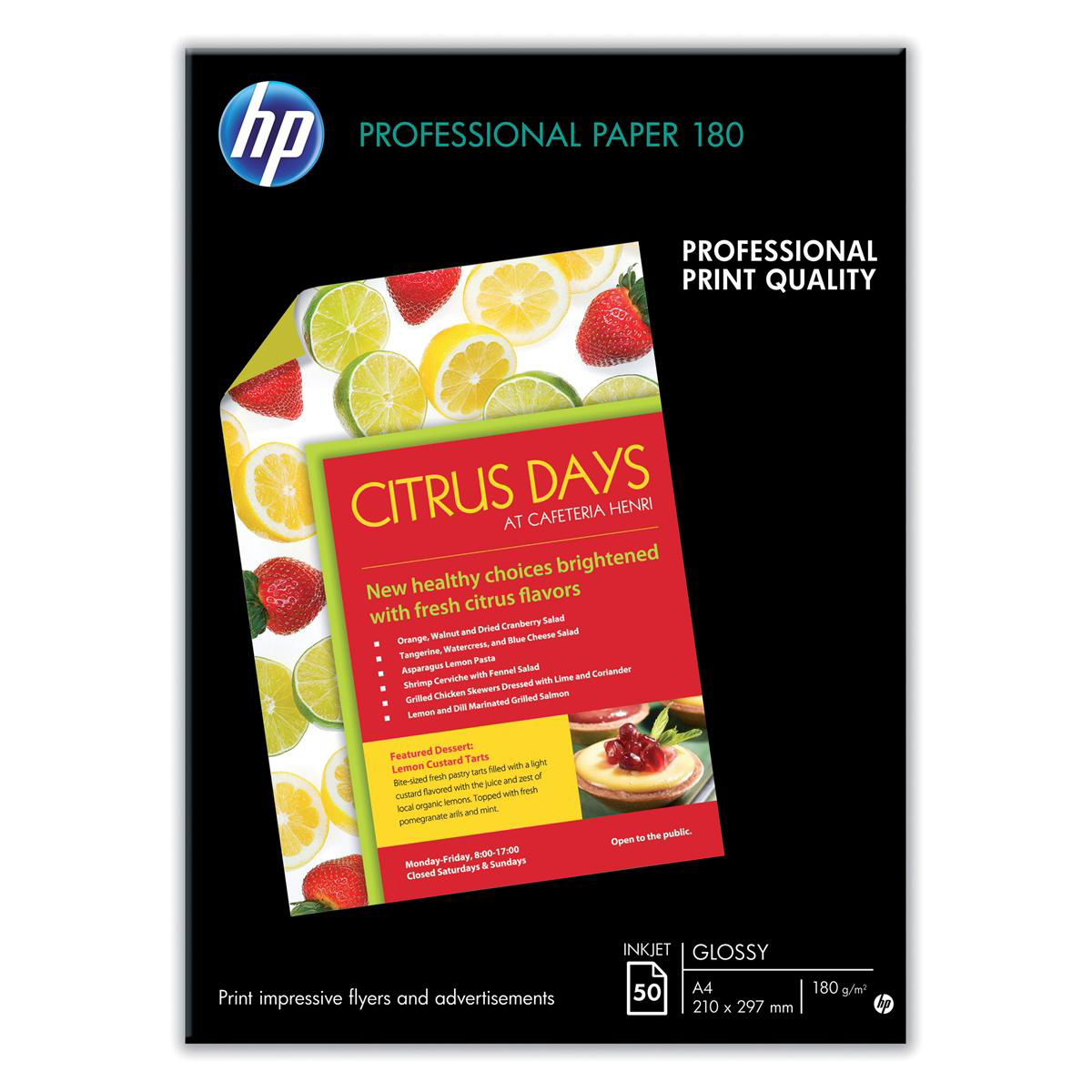Hewlett Packard HP Professional Inkjet Paper Double-sided Glossy 180gsm A3 Ref C6821A 50 Sheets