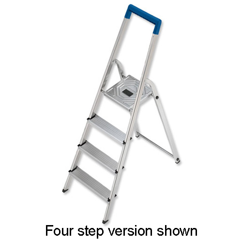 Image for Folding Aluminium Ladder 3 Non Slip Ribbed Steps Capacity 150kg 3.5kg