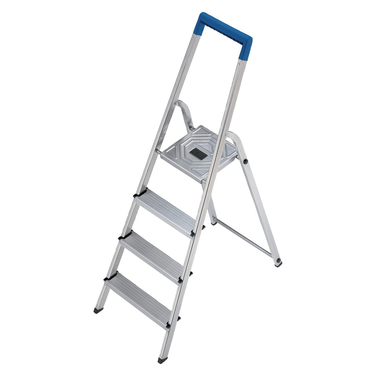 Folding Aluminium Ladder 4 Non Slip Ribbed Steps Capacity 150kg 4.1kg