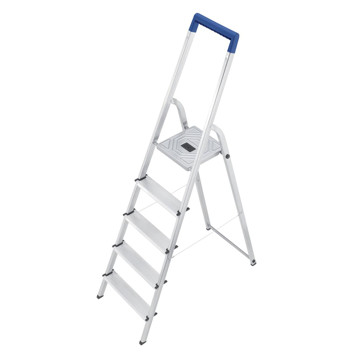Image for Folding Aluminium Ladder 5 Non Slip Ribbed Steps Capacity 150kg 5kg