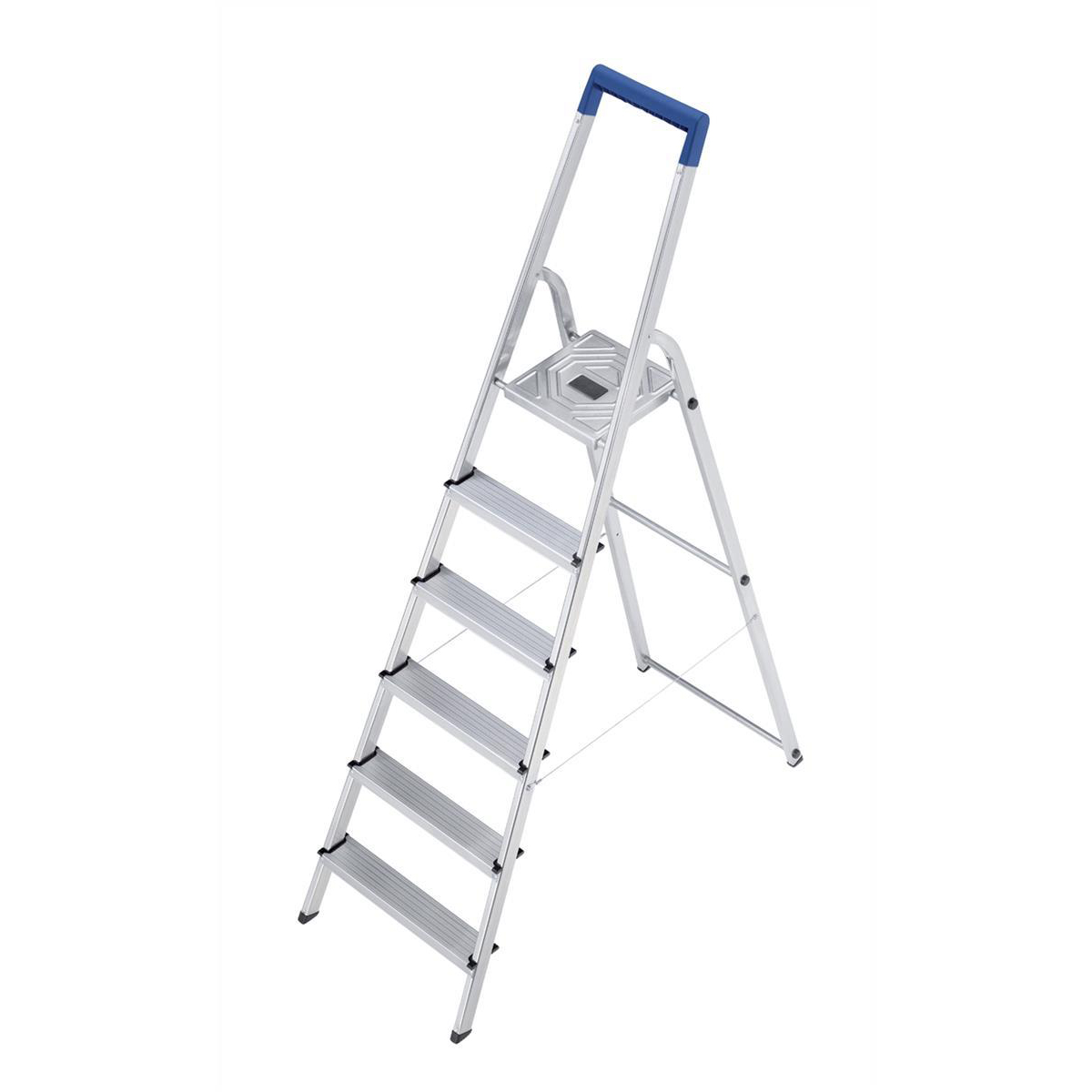 Folding Aluminium Ladder 6 Non Slip Ribbed Steps Capacity 150kg 5.8kg