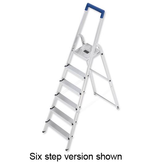 Folding Aluminium Ladder 7 Non Slip Ribbed Steps Capacity 150kg 6.7kg