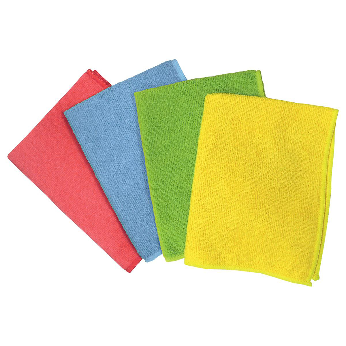 5 Star Facilities Microfibre Cleaning Cloths Colour-coded for Dry or Damp Multi-surface Use Red Pack 6