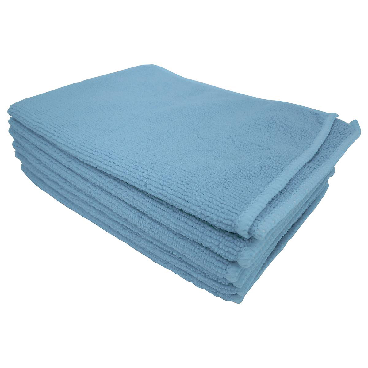 5 Star Facilities Microfibre Cleaning Cloths Colour-coded for Dry or Damp Multi-surface Use Blue [Pack 6]
