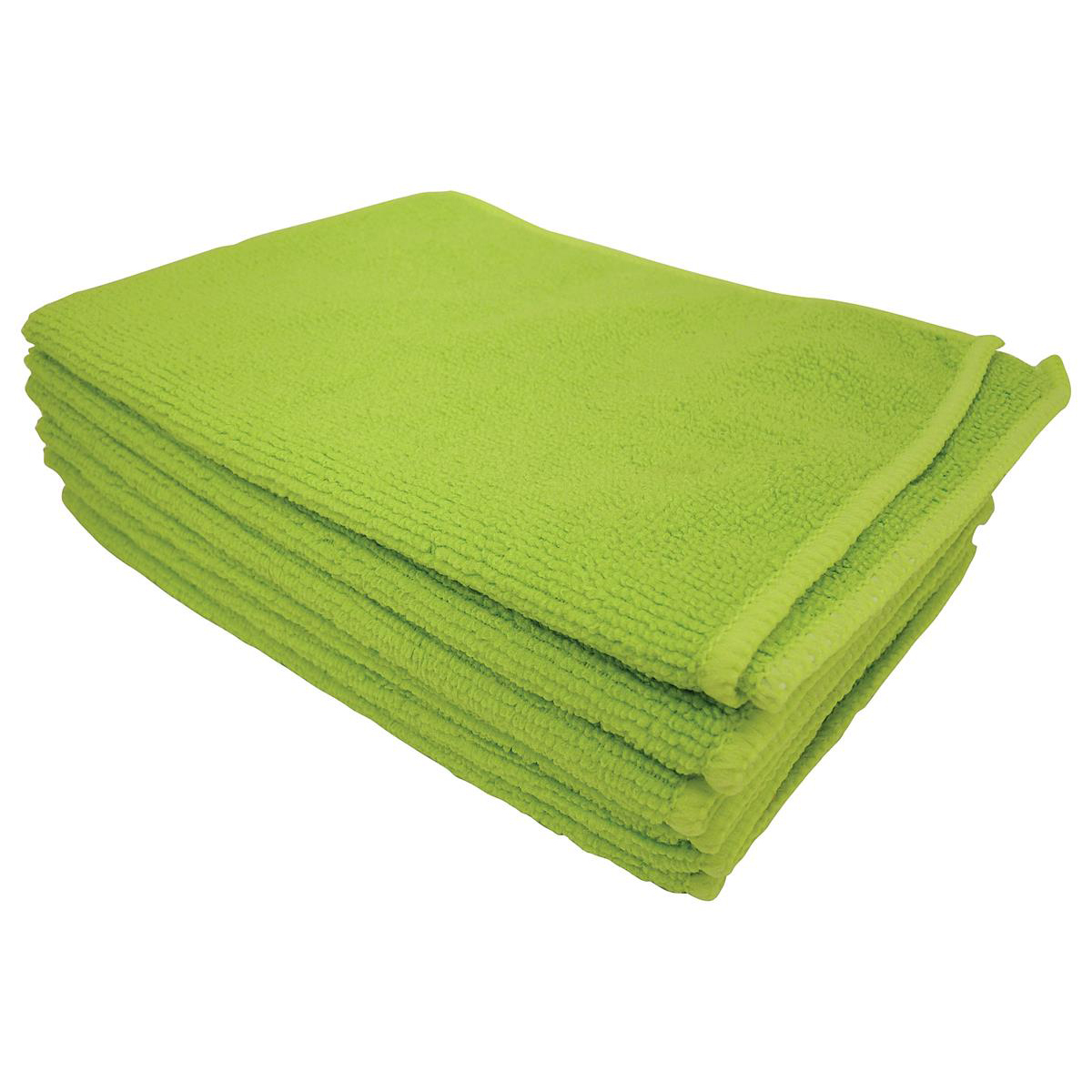 5 Star Facilities Microfibre Cleaning Cloths Colour-coded Dry or Damp Multi-surface Use Green Pack 6