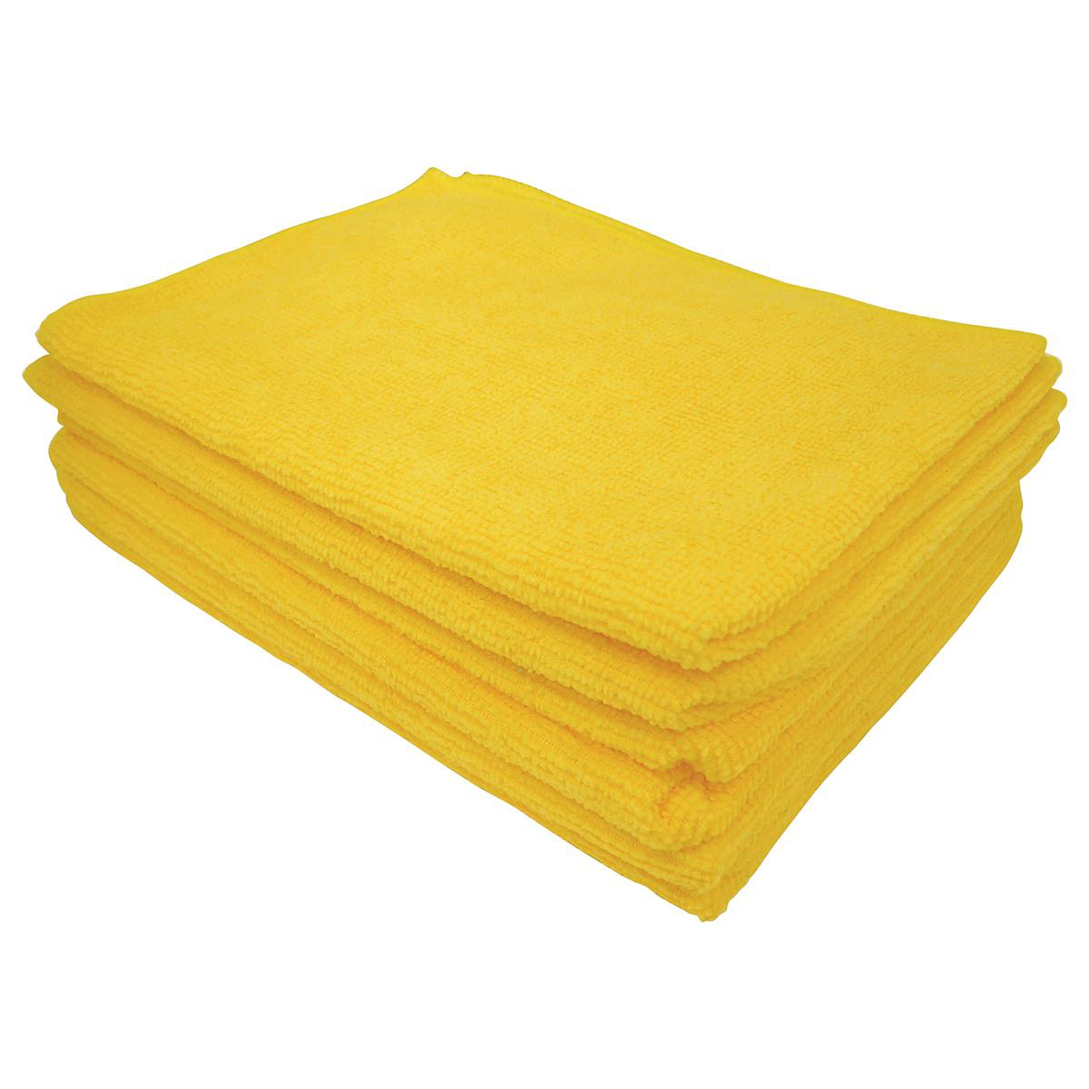 5 Star Facilities Microfibre Cleaning Cloths Colour-coded Dry or Damp Multi-surface Yellow [Pack 6]