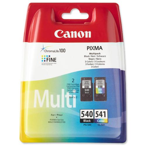 Canon PG-540/CL-541 Inkjet Cartridge Page Life 180pp 8ml Black/Tri-Colour Ref 5225B006 Pack 2