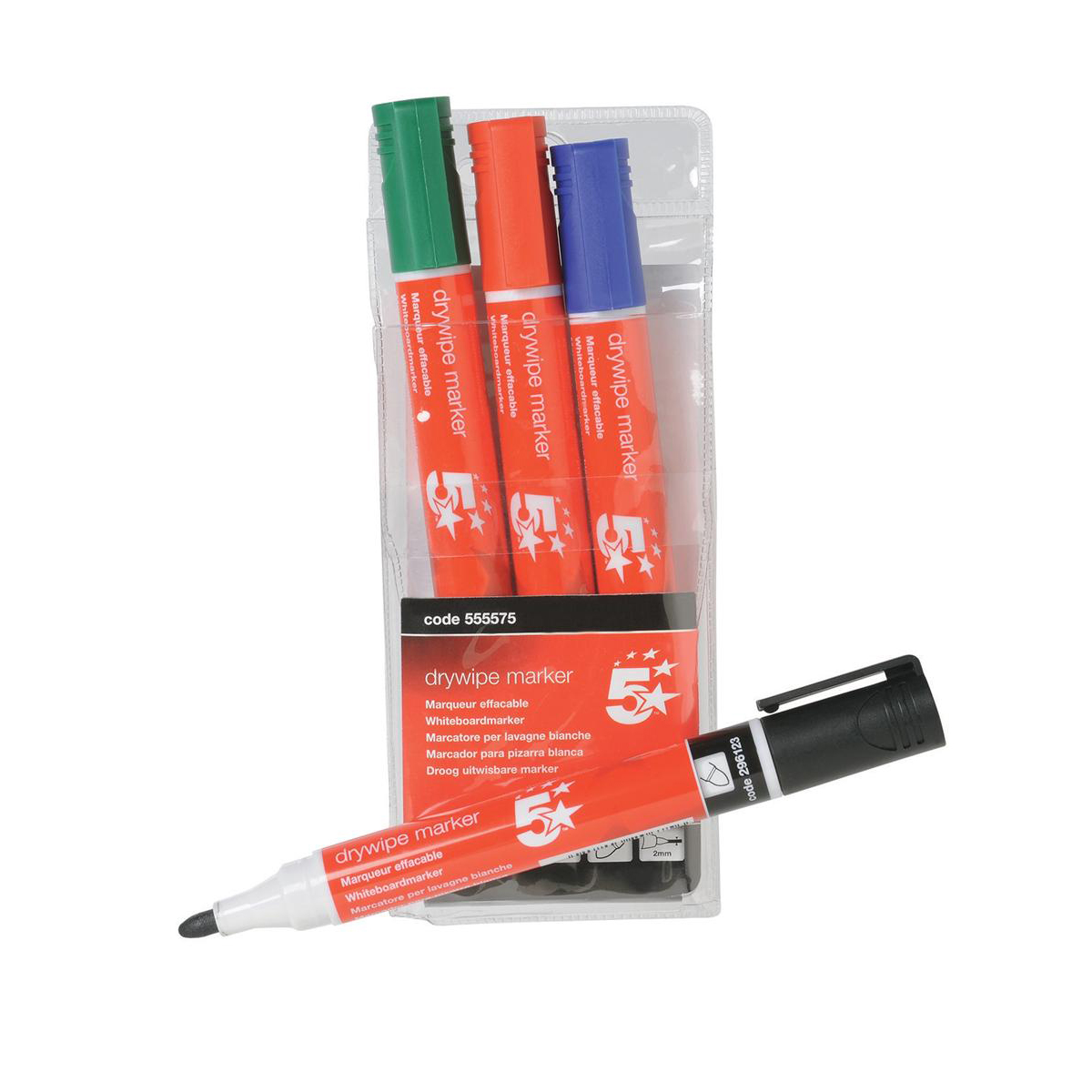 5 Star Office Drywipe Marker Xylene/Toluene-free Bullet Tip 3mm Line Wallet Assorted [Pack 4]