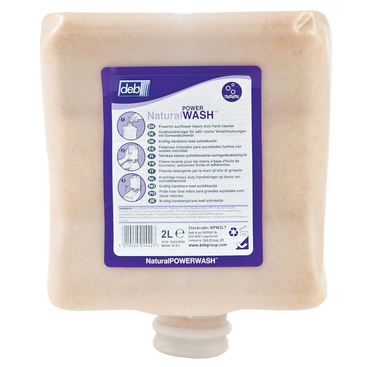 Hand Soaps / Sanitisers & Dispensers DEB Natural Power Wash Hand Soap Refill Cartridge 2 Litre Ref N03855
