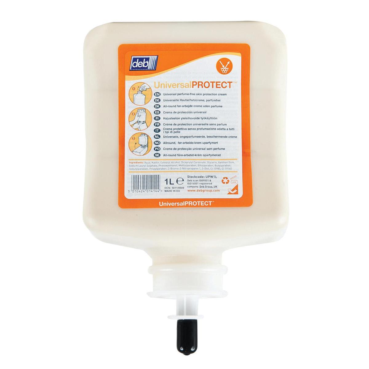 Hand & Sun Creams DEB Universal Pre-Work Protect Hand Cream Refill Cartridge 1 Litre Ref N03840
