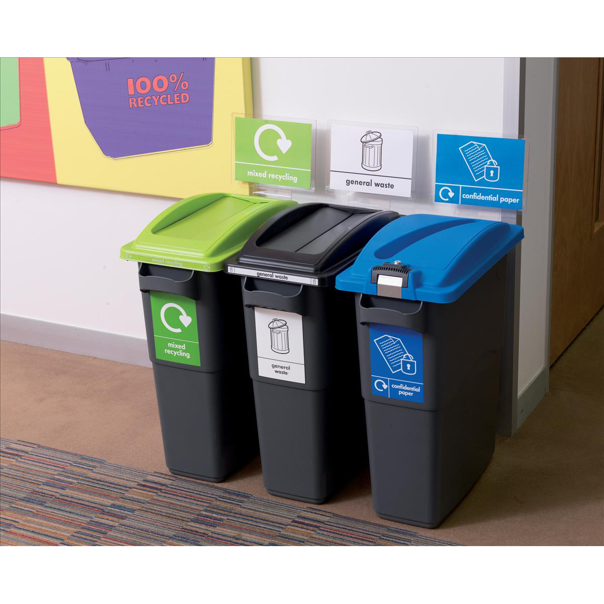 EcoSort Recycling System Maxi Bin 70 Litre Capacity 275x590x760mm Grey Ref SPICEMAXGREY1