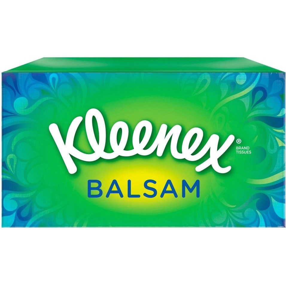 Image for Kleenex Balsam Facial Tissues Box 3 Ply with Protective Balm 80 Sheets White Ref M02275 (1)