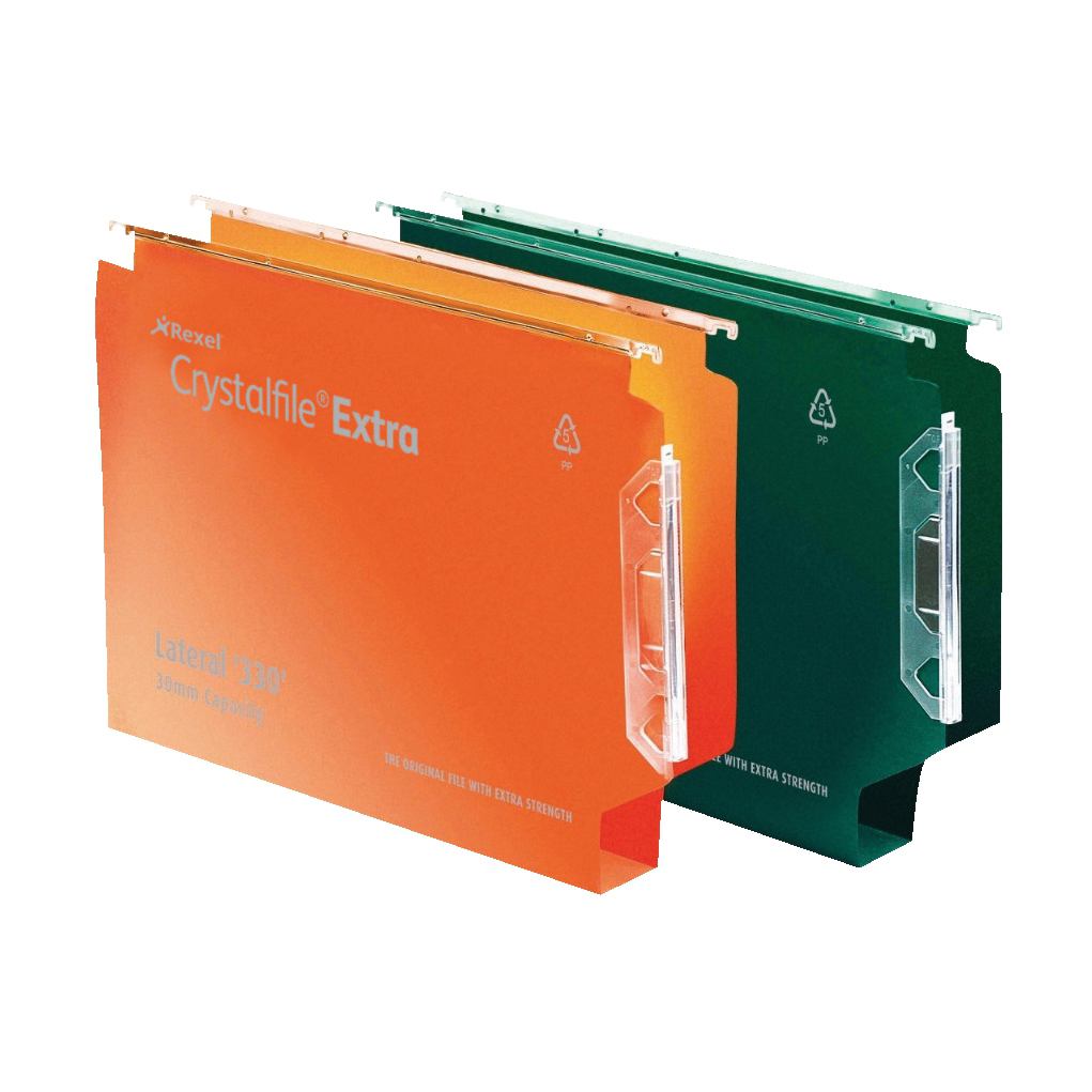 Rexel Crystalfile Extra Lateral File Polypropylene 30mm Wide-base Foolscap Orange Ref 300125 Pack 25
