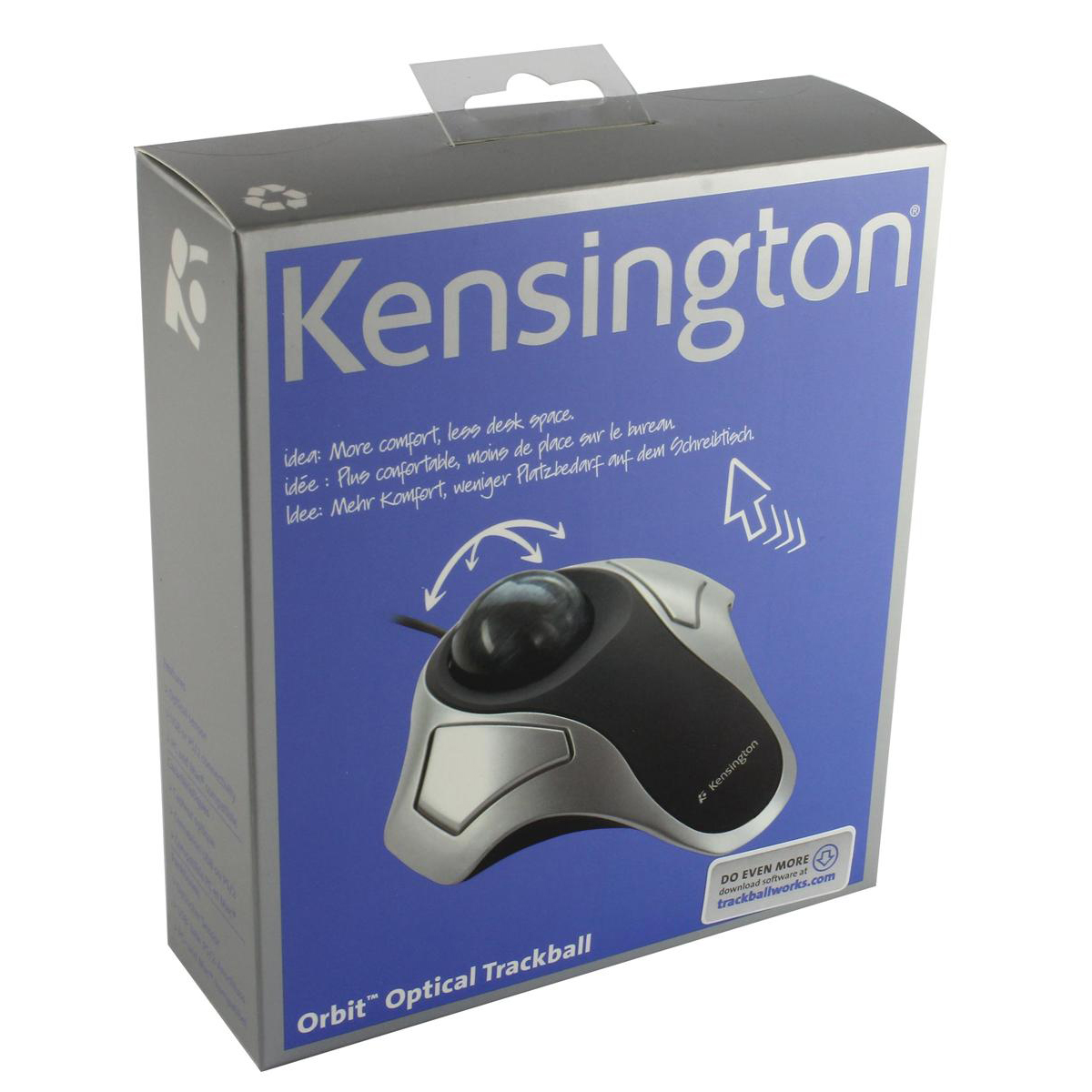 Kensington Orbit Elite Mouse Trackball Corded USB Both Handed Black/Silver Ref 64327EU