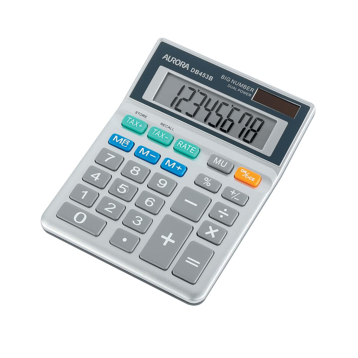 Calculators Aurora Semi-desk Calculator 8 Digit 3 Key Memory Battery/Solar Power 102x25x133mm Grey Ref DB453B