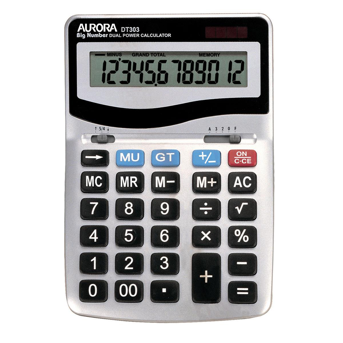 Desktop Calculator Aurora Desktop Calculator 12 Digit 4 Key Memory Battery/Solar Power 133x35x198mm Silver Ref DT303