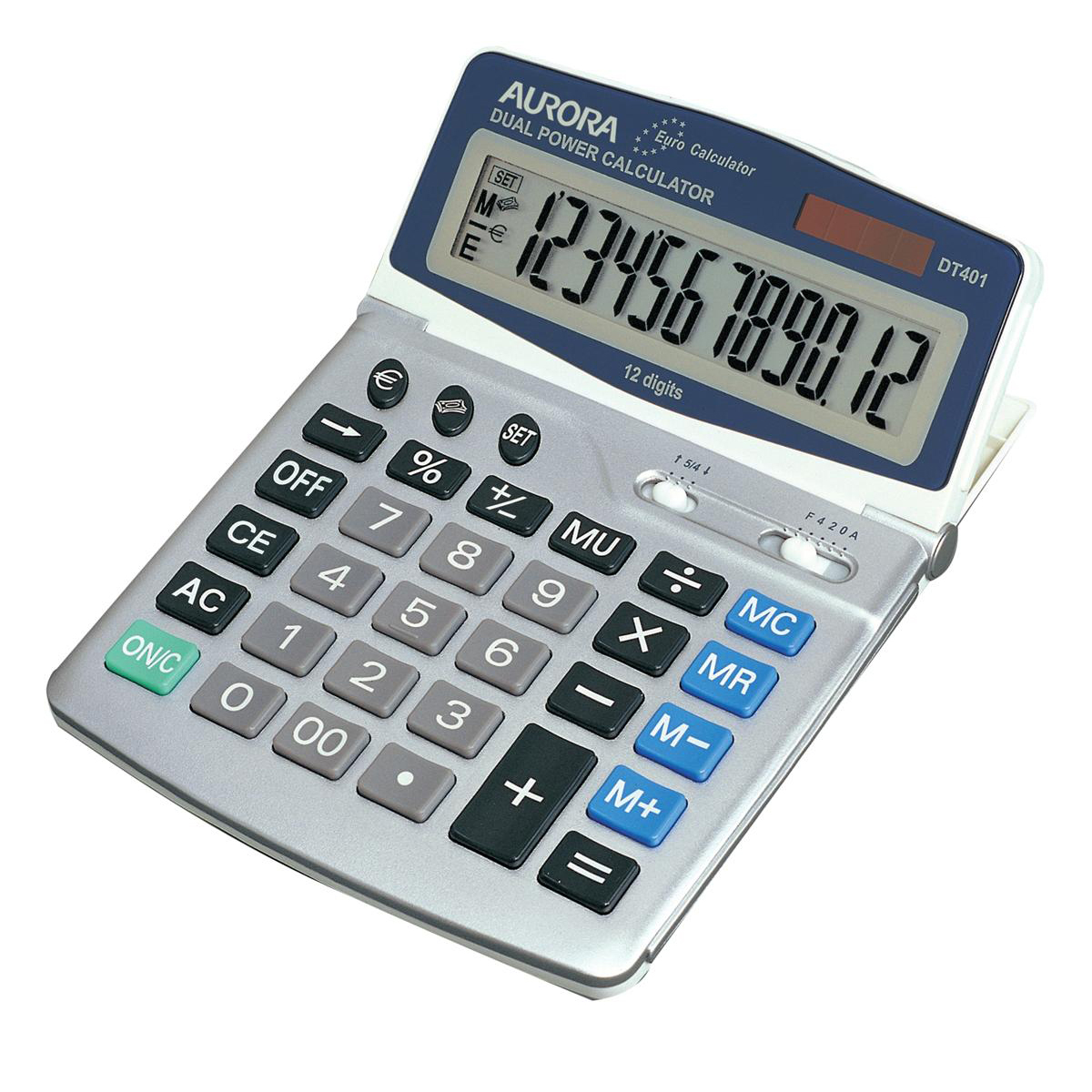 Calculators Aurora Desktop Calculator 12 Digit 4 Key Memory Battery/Solar Power 165x32x228mm Grey Ref DT401