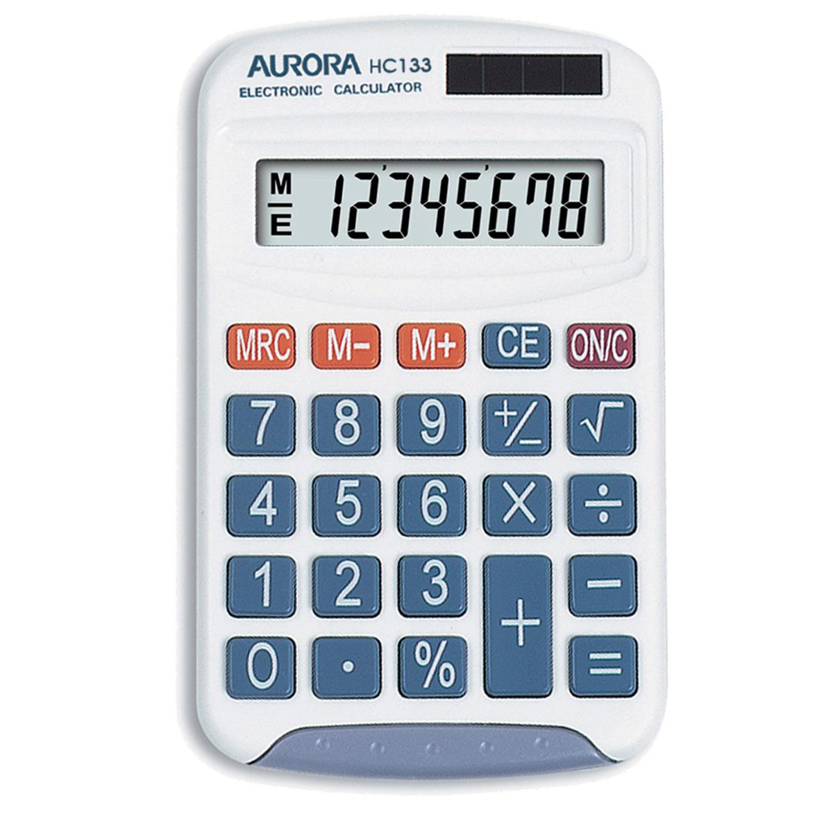 Handheld Calculator Aurora Handheld Calculator 8 Digit 3 Key Memory Solar and Battery Power 70x15x115mm White Ref HC133