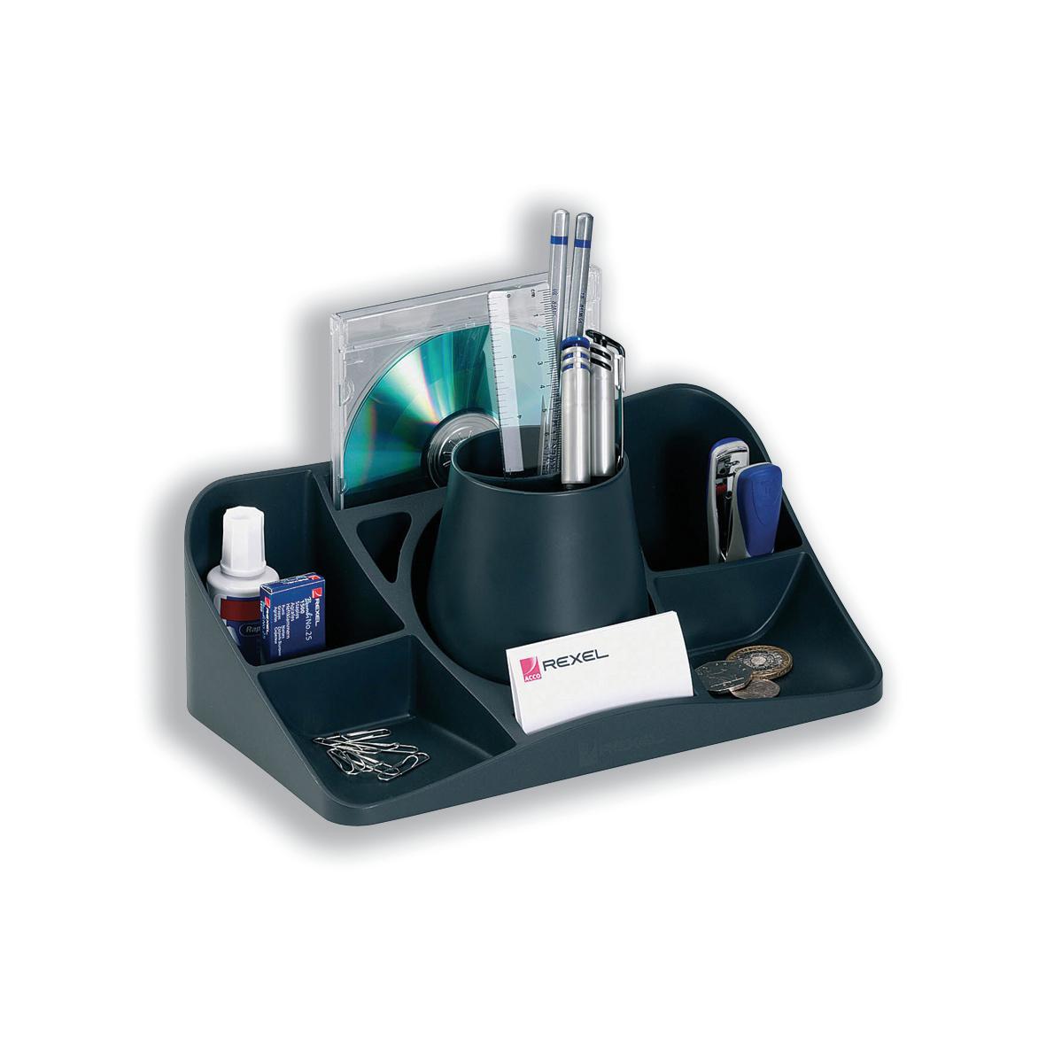 Rexel Agenda 2 Desk Tidy Charcoal Ref 2101028
