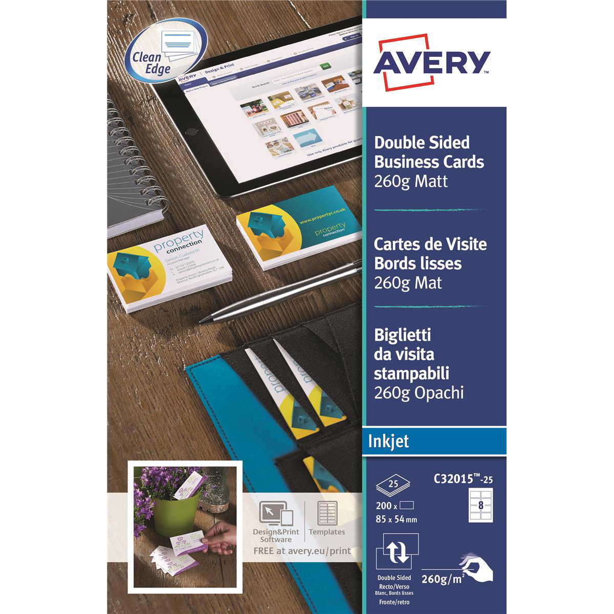 Business cards Avery Quick and Clean Business Cards Inkjet 260gsm 8 per Sheet Matt Coated Ref C32015-25 200 Cards