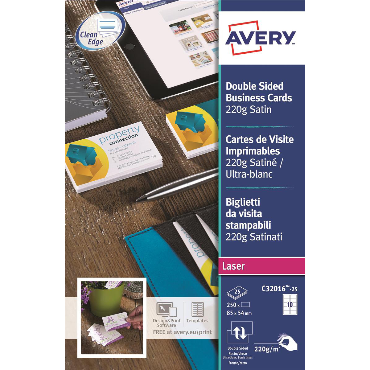 Avery Quick and Clean Business Cards Laser 220gsm 10 per Sheet Satin Colour Ref C32016-25 250 Cards