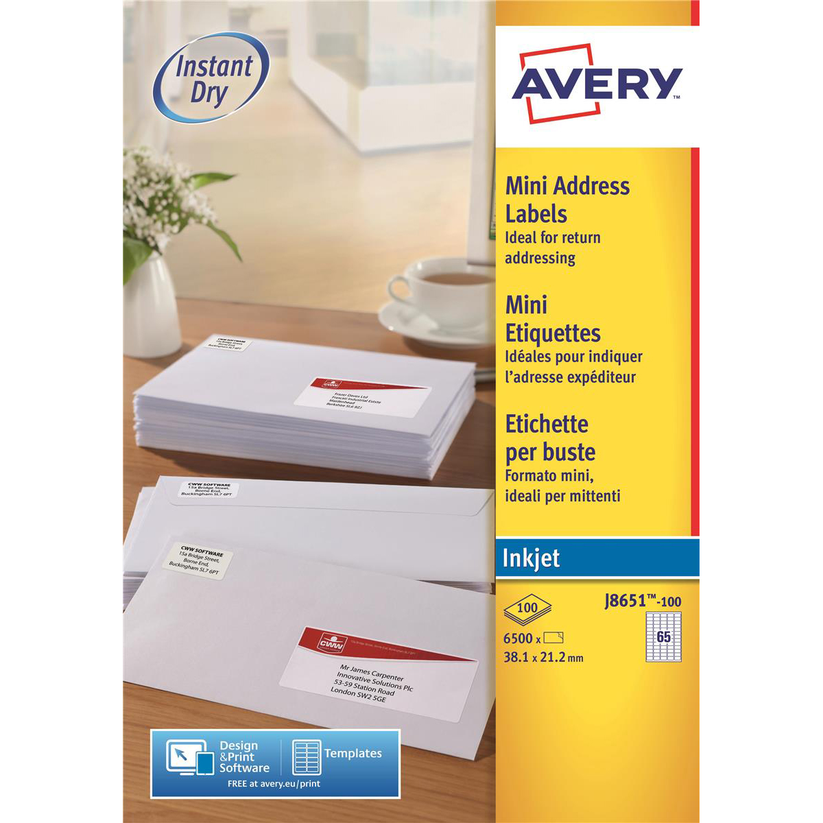 Avery Mini Labels Inkjet 65 per Sheet 38.1x21.2mm White Ref J8651-100 [6500 Labels]