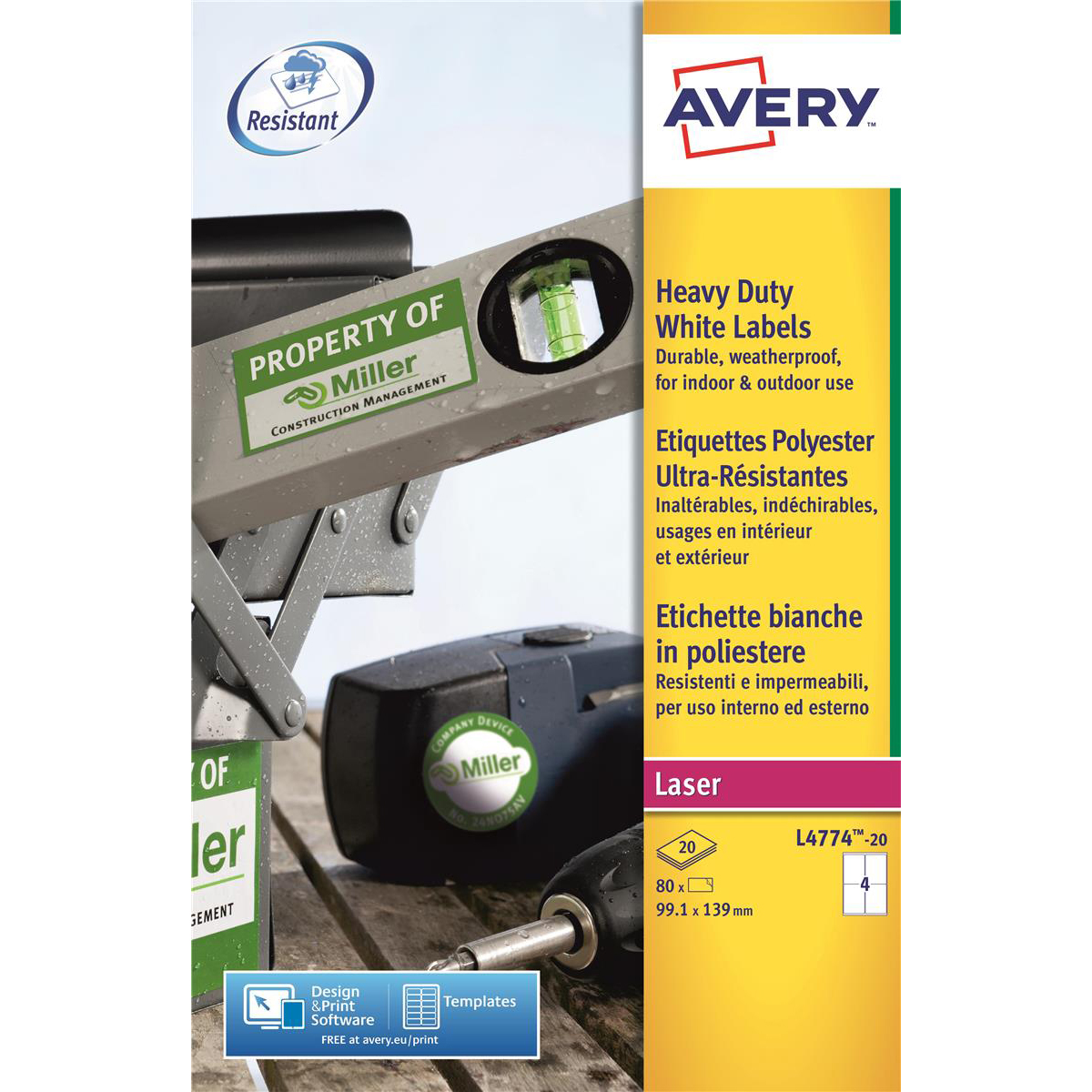Removable Avery Heavy Duty Labels Laser 4 per Sheet 99.1x139mm White Ref L4774-20 80 Labels
