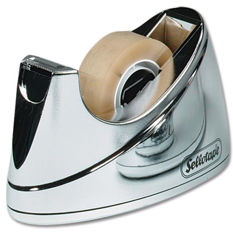 Sellotape Tape Dispenser Large Desktop Non-slip Roll Capacity 25mm Width 66m Length Chrome Ref 4640