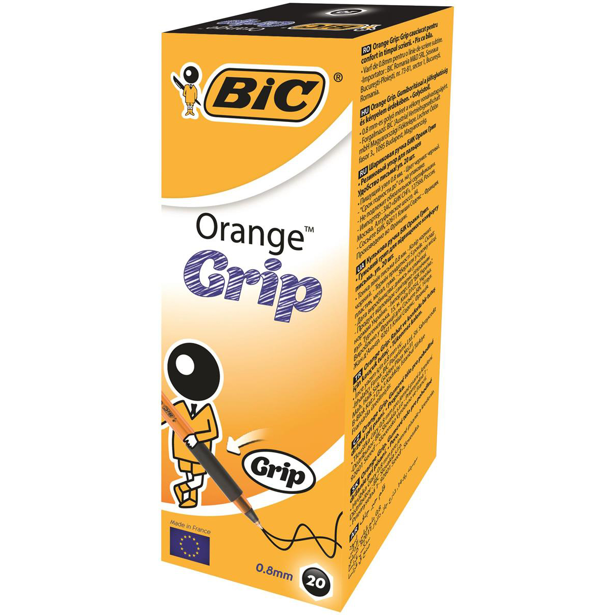 Bic Orange Grip Ball Pen Fine Translucent Barrel 0.8mm Tip 0.3mm Line Black Ref 811925 Pack 20