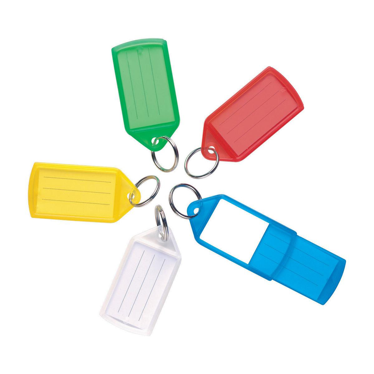 5 Star Facilities Sliding Key Fob Coloured Medium Label Area 38x22mm 25mm Ring Assorted Pack 10