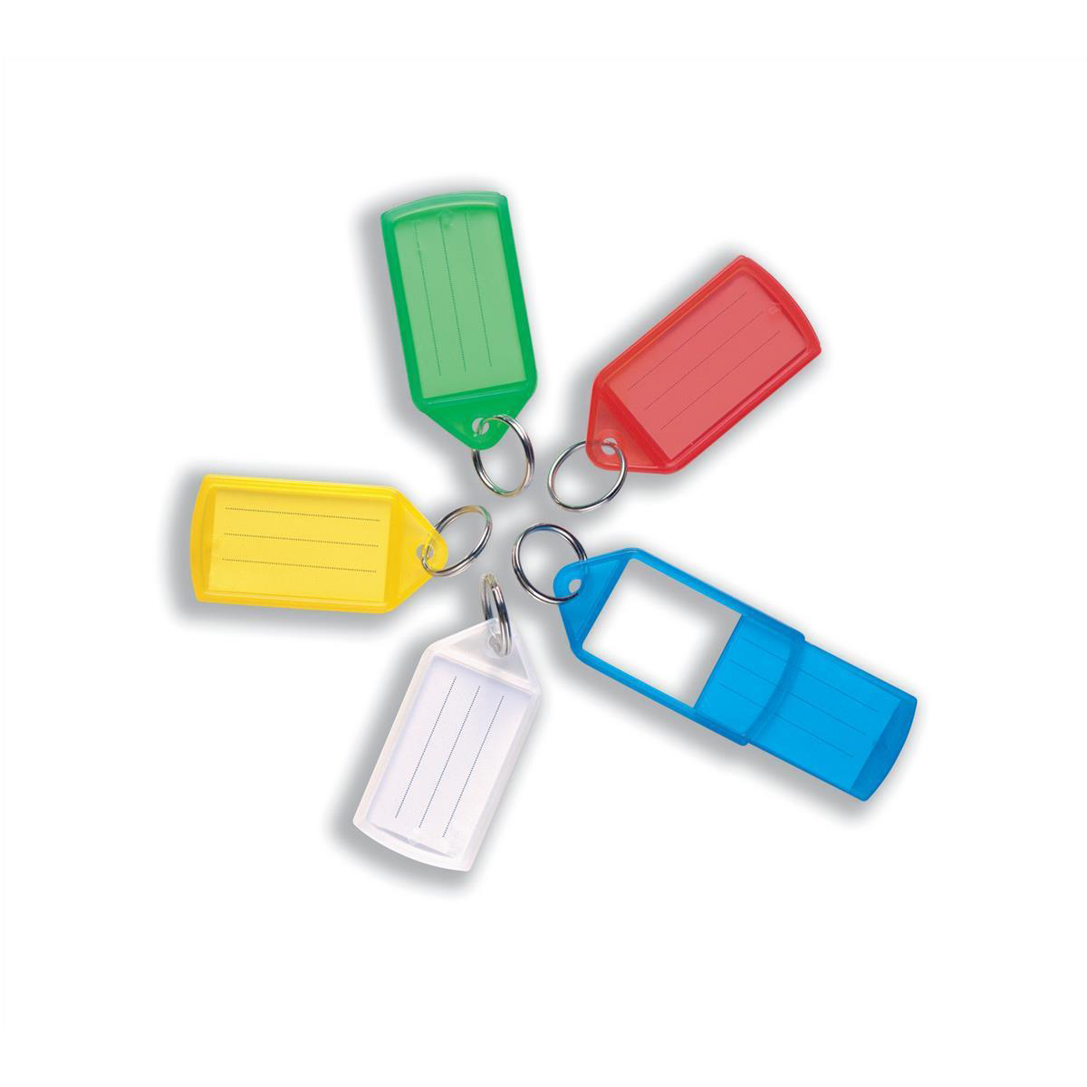 5 Star Facilities Sliding Key Fob Coloured Large Label Area 51x33mm25mm Ring Assorted Pack 10