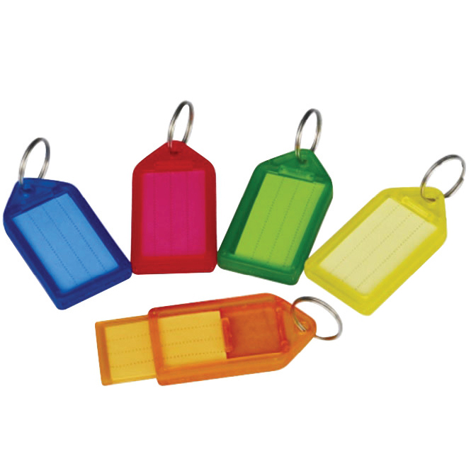 5 Star Facilities Sliding Key Fob Coloured Large Label Area 51x33mm25mm Ring Assorted [Pack 10]