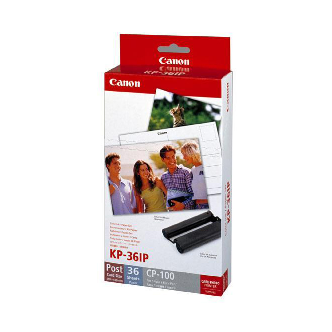 Inkjet Cartridges Canon CP100 Ink and Paper Photo Set 36 Sheets 102x152mm Colour Ref 7737A001AH