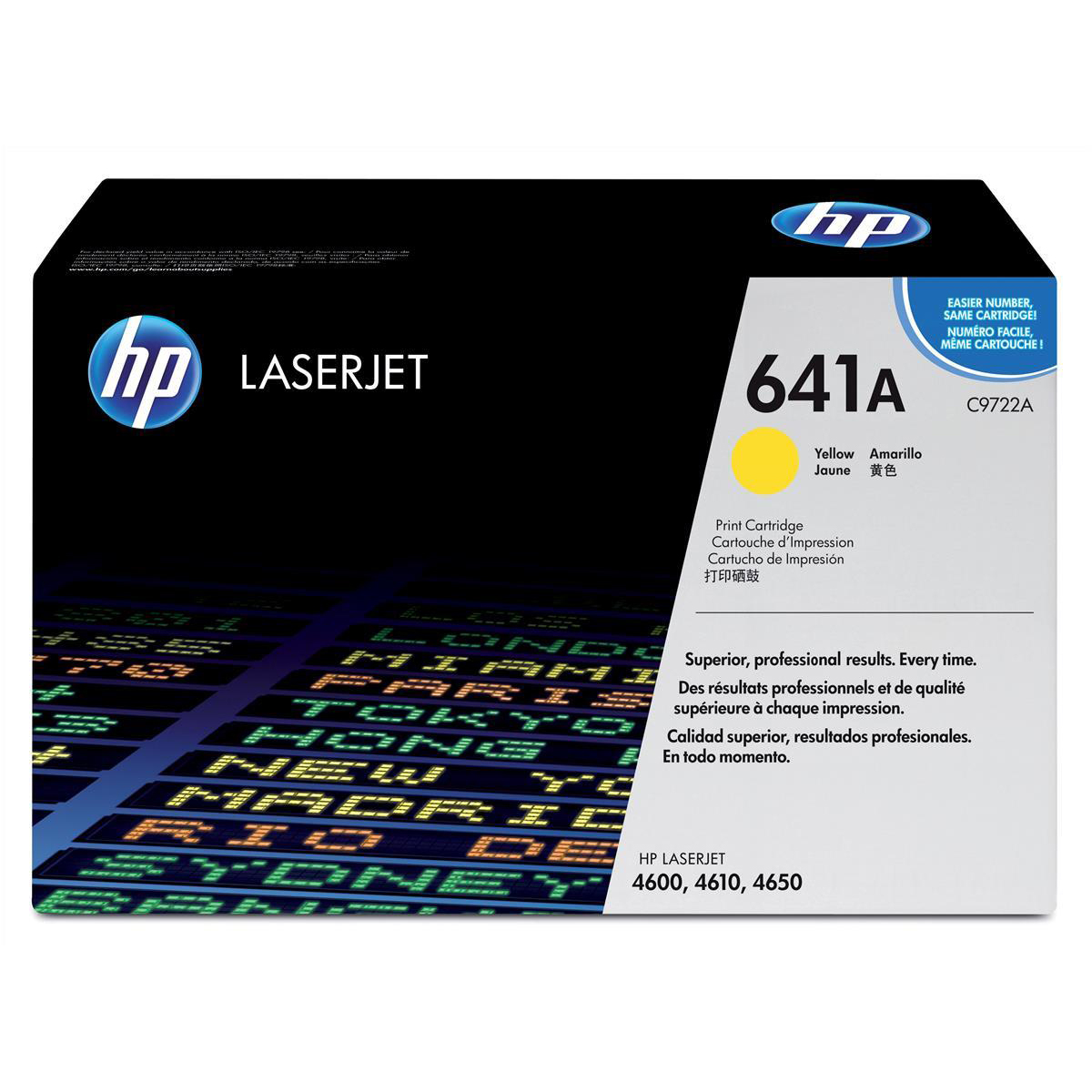 Hewlett Packard [HP] No. 641A Laser Toner Cartridge Page Life 8000pp Yellow Ref C9722A