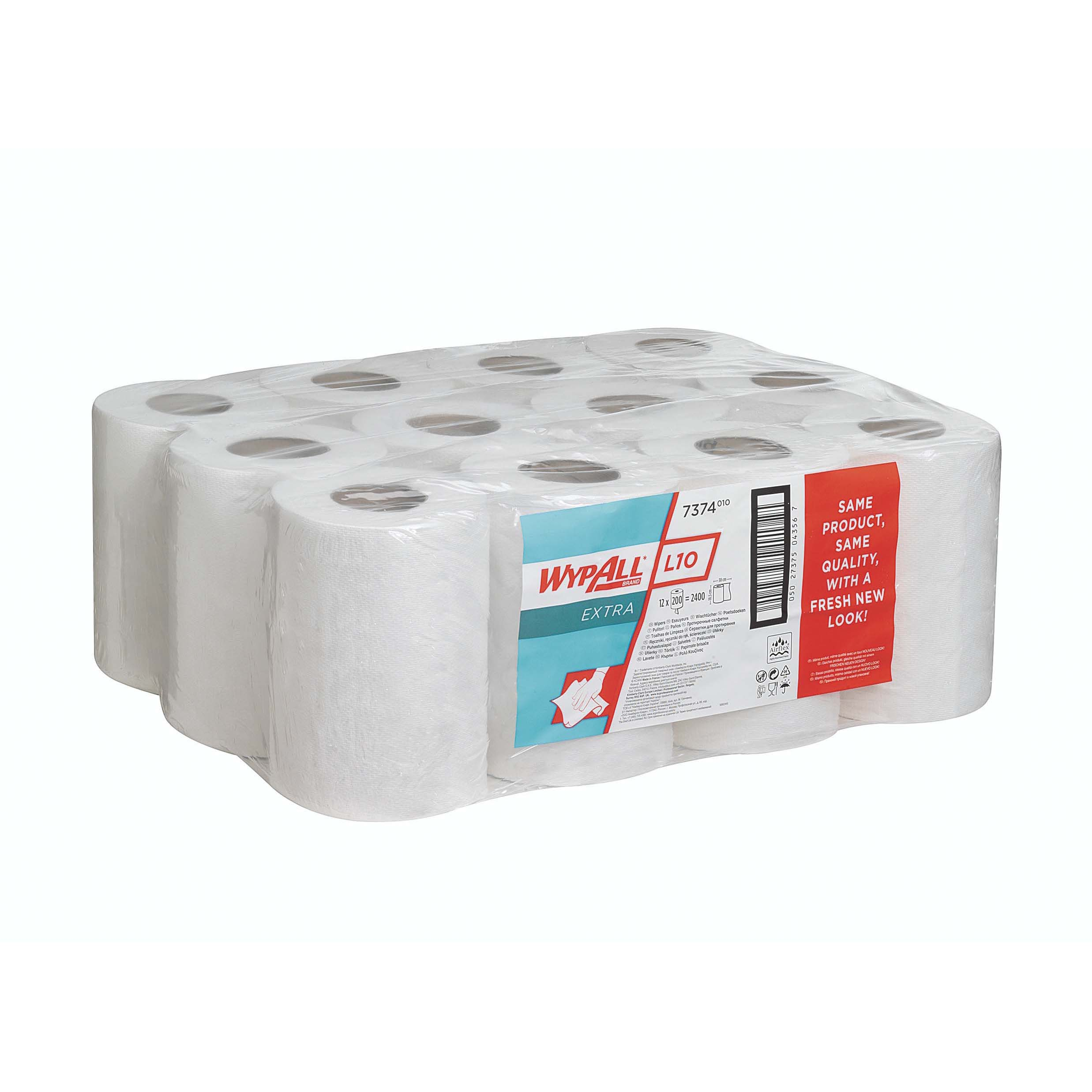 Wypall L10 Centrefeed Wiper Roll 200 Sheets of 185x380mm White Ref 7374 Pack 12