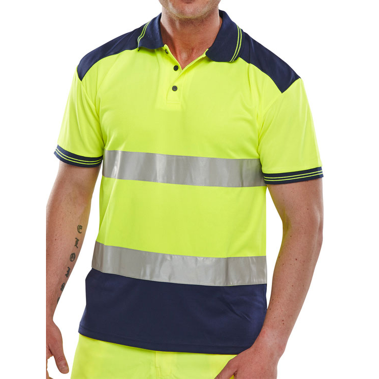 Mens shirts BSeen Polo Shirt Hi-Vis Polyester Two Tone XS Yellow/Navy Ref CPKSTTENSYXS *Up to 3 Day Leadtime*