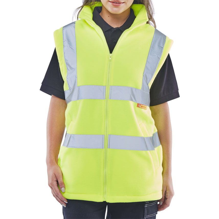 BSeen High Visibility Fleece Gilet 3XL Saturn Yellow Ref CARFGSYXXXL *Up to 3 Day Leadtime*