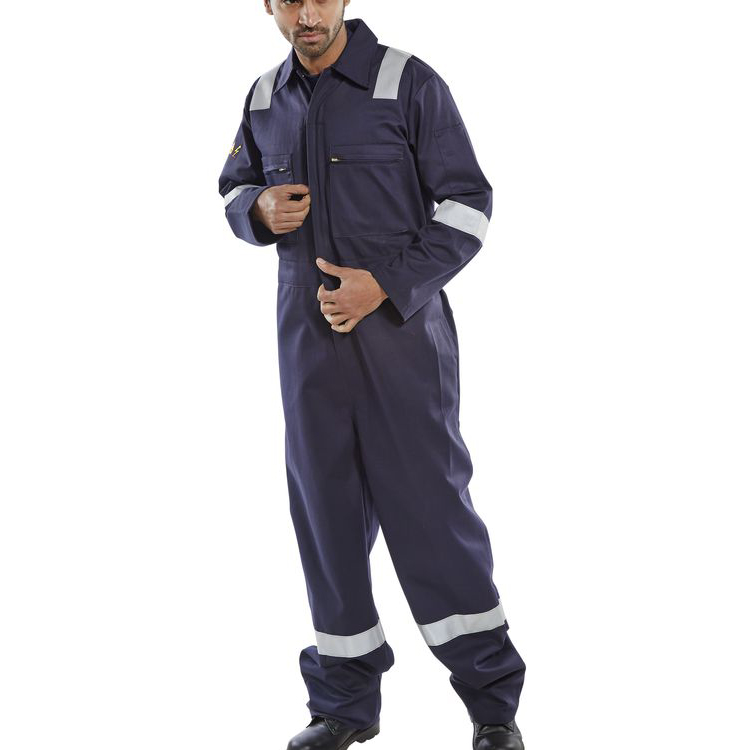 Click Fire Retardant Burgan Boilersuit Anti-Static Size 48 Navy Ref CFRASBBSN48 *Up to 3 Day Leadtime*