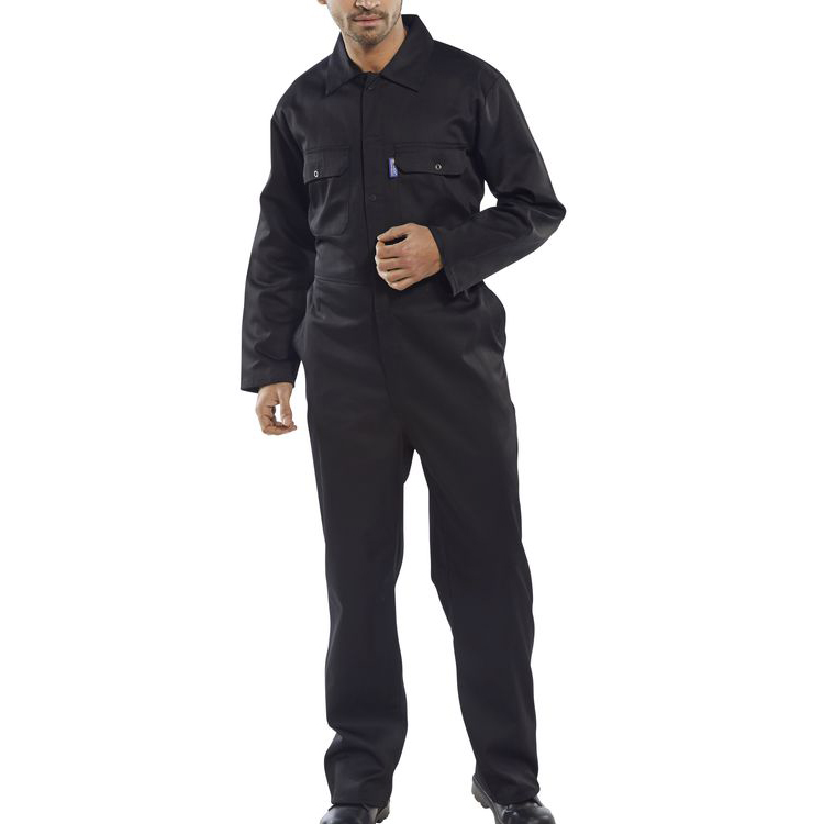 Protective coveralls Click Workwear Regular Boilersuit Black Size 46 Ref RPCBSBL46 *Up to 3 Day Leadtime*