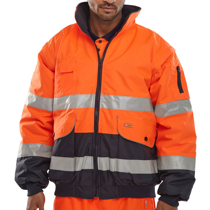 B-Seen Europa High Visibility Bomber Jacket Large Orange/Navy Ref EBJORNL *Up to 3 Day Leadtime*