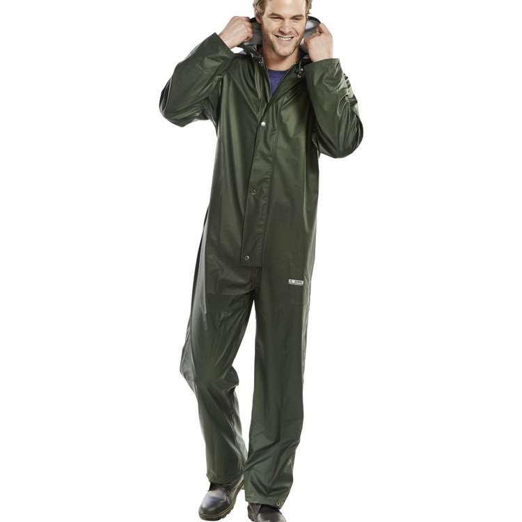 B-Dri Weatherproof Brecon Transfer Coated Coveralls Olive 4XL Green BRECCOXXXXL *Up to 3 Day Leadtime*