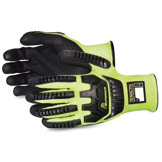 Protective gloves Superior Glove Tenactiv Anti-Impact Hi-Vis Black Widow 7 Yellow Ref SUSTAGYPNVB07 *Up to 3 Day Leadtime*