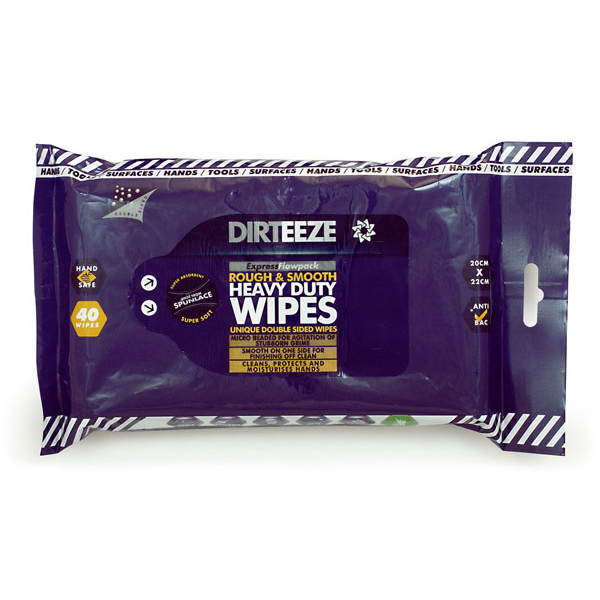 Dirteeze Rough & Smooth Wipes Soft Pack 220x200mm Ref DZRS40 40 Wipes *Up to 3 Day Leadtime*