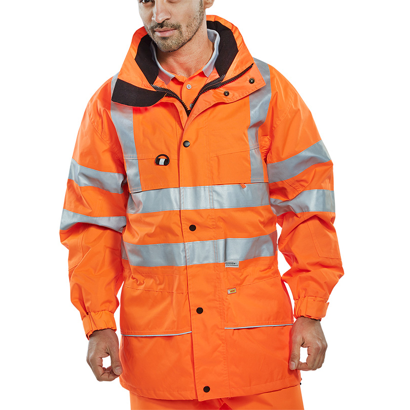 B-Seen High Visibility Carnoustie Jacket Large Orange Ref CARORL *Up to 3 Day Leadtime*